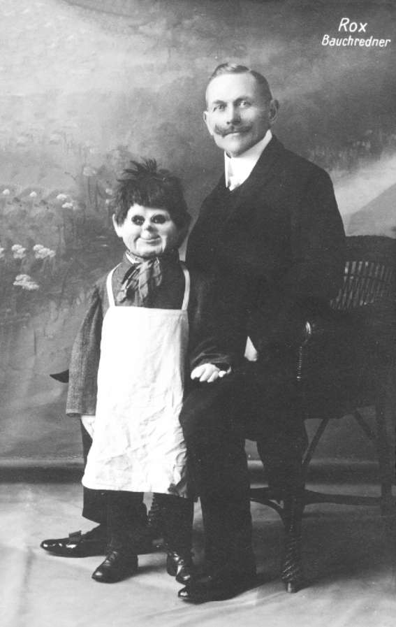 Old mustache man and dummy